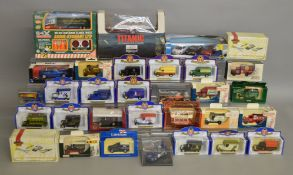 31 boxed diecast models by Oxford, Lledo, Matchbox and others including a Trofeu Subaru Rally