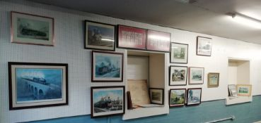 24 framed Railway related prints together with two frames containing Cigarette Cards and a small