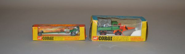 2 boxed Corgi Toys, 162 Quartermaster Dragster and 1150 Unimog 406 with Snowplough, models appear