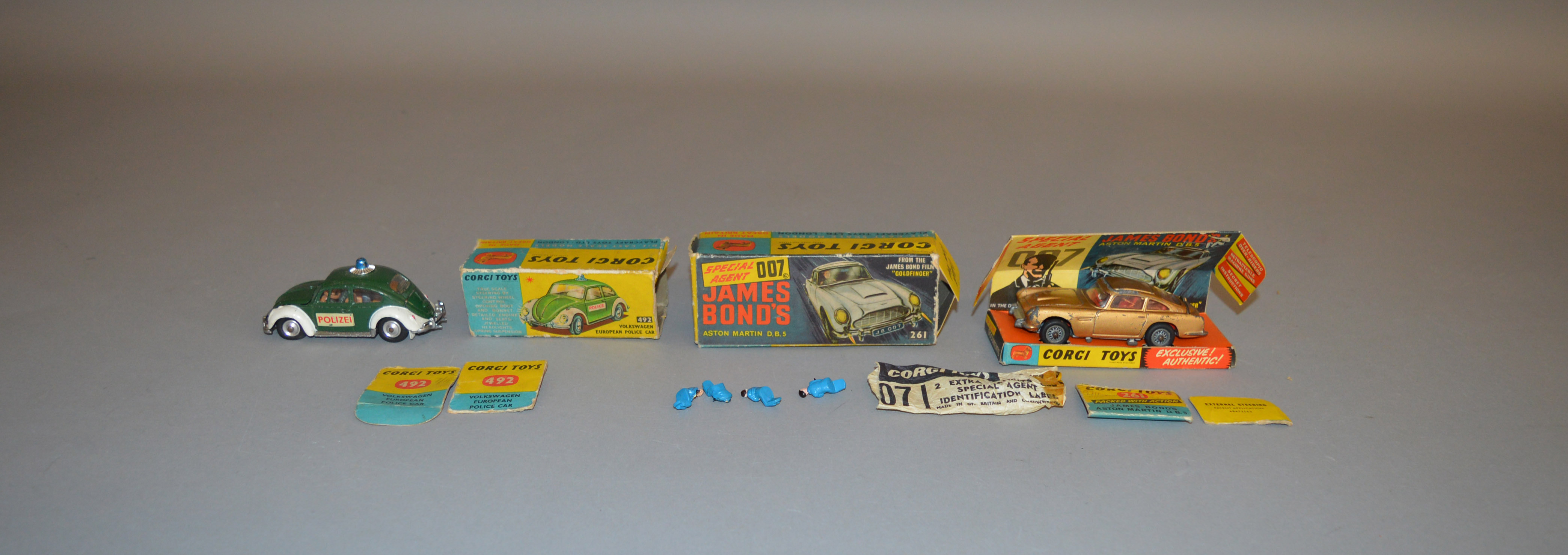 Lot 58 - 2 boxed Corgi Toys, 261 James Bond Aston Martin DB5, model is F although all functions operate
