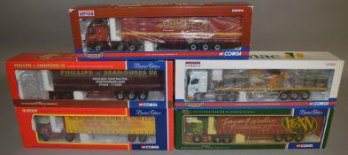 5 Corgi 1:50 scale die-cast truck models, which includes; Tarmac, Phillips Of Seahouses LTD etc