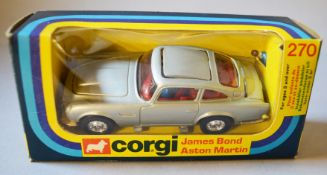 James Bond 007 A boxed Corgi Toys 270 silver coloured Aston Martin DB5 with red interior housed in