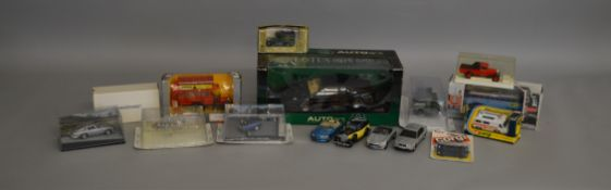 8 boxed die-cast models and 1 carded by Corgi, Autoart etc including a James Bond Goldfinger Aston