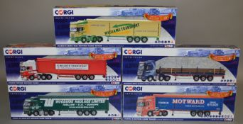 5 Corgi 1:50 scale die-cast truck models, which includes; Woodside Haulage LTD, Motward etc which