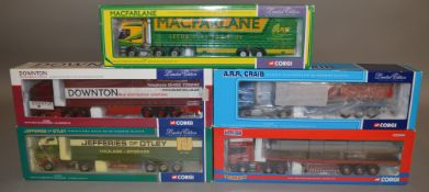 5 Corgi 1:50 scale die-cast truck models, which includes; A.R.R. Craib, Downton, etc which are