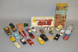 A boxed Corgi Simon Snorkel Fire Engine #1127 together with some loose die-cast by Corgi, Spot-on