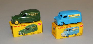 2 boxed Dinky Toys Vans including 472 Austin Van, in green with yellow hubs, 'Raleigh Cycles' and