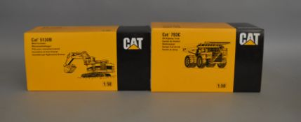 2 Caterpillar die-cast 1:50 scale boxed models by NZG; 5130B Mass xcavator and 793C Off-Highway
