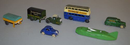 3 unboxed Pre-War Dinky Toys including 33rd Mechanical Horse and Trailer 'Southern Railways
