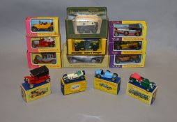 13 boxed Matchbox 'Models of Yesteryear' from various different series including yellow/pink and '