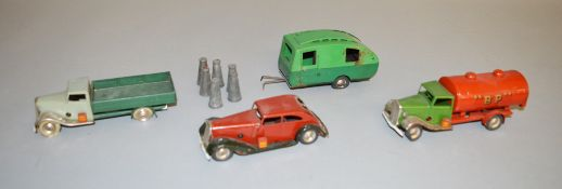 4 unboxed Pre-War Tri-ang Minic tinplate vehicles including 10M Delivery Lorry with six churns,