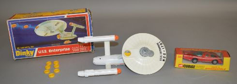 A boxed Dinky Toys 358 U.S.S. Enterprise,generally F/G, with transfers applied and comes with