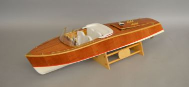 An impressive radio controlled model of a 'Riviera' type Cruiser, approximately 72cm long. The model