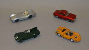 4 unboxed vintage die-cast models including two Crescent Racing Cars - Jaguar D Type and Mercedes