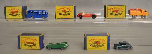 5 boxed models from the Matchbox Lesney 1-75 series Regular Wheel range including 37a Karrier Bantam
