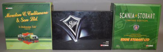 3 Corgi 1:50 scale die-cast truck model sets; #CC99154 Moreton C Cullimore & Son LTD, #CC99185 150