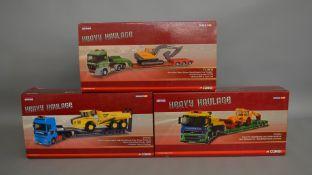 "3 Corgi 1:50 scale die-cast truck model sets from the ""Heavy Haulage"" range; #CC13242, CC13816, #"