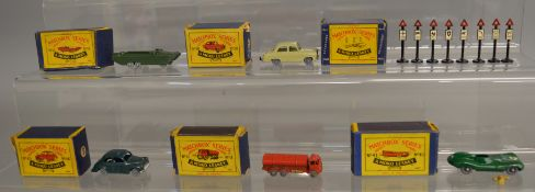 5 boxed models from the Matchbox Lesney 1-75 series Regular Wheel range including 11a ERF Tanker '