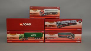 """5 Corgi 1:50 scale die-cast truck models, which includes; AWS, Eddie Stobart etc from the """""""