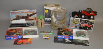 A mixed group of  boxed toys including a radio controlled  Toyota 4WD model 'The Winch', an Airfix