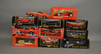 11 1:18 scale die-cast car models by Burago, Maisto, Tonka etc, including 1969 Charger General