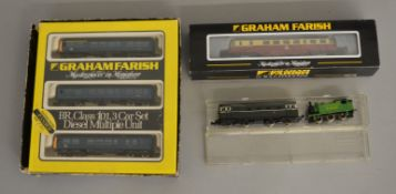 N Gauge. EX SHOP STOCK. A boxed Graham Farish #8145 Class 101 3 car DMU set, VG in G packaging with