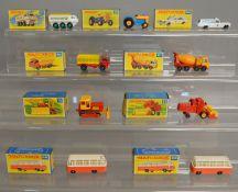 9 boxed models from the Matchbox Lesney 1-75 series Regular Wheel range including 16d Case Dozer,