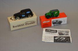 2 boxed white metal Delivery Van models in 1:43 scale, a Brooklin #9 1940 Ford Sedan Van 'Ford'
