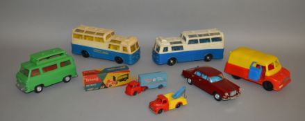 2 unboxed Telsalda (Hong Kong) plastic vehicles with friction drive including their  copy of the