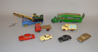 8 unboxed playwoirn and repainted Dinky Toys for restoration. (8)