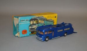 A boxed Corgi Toys 1126 Ecurie Ecosse Racing Car Transporter in dark blue with yellow lettering,