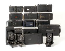 A Good Lot of Sixteen Folding Contessa & Kodak Cameras.