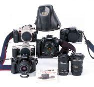 Box of Canon EOS Film Cameras & AF Lenses.