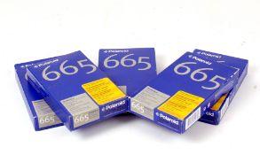 5 Boxes of Polaroid 665 Instant Black & White Film.