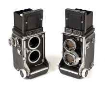 A Pair of Mamiyaflex TLRS, One Lacking Lenses.