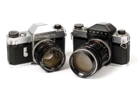 A Pair of Canonflex Cameras with Fast Prime Lenses.