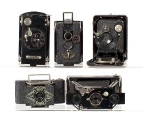 Five Small Folding Plate & Other Cameras.