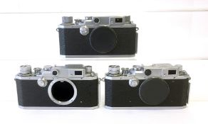 Three Canon Rangefinder Camera Bodies with E.P Markings.
