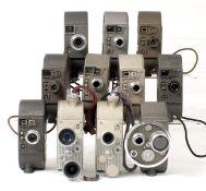 Group of Fourteen Bell & Howell 8mm, Double-Run Cine Cameras.