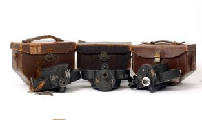 Three Bell & Howell Filmo 16mm Cine Cameras.
