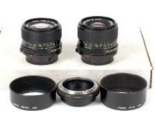 Two Canon FD Wide Angle Lenses.