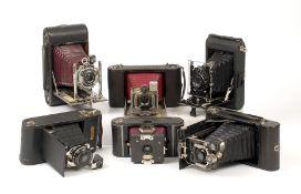 Six Good Quality Folding Cameras, inc Ernemann, Busch etc.
