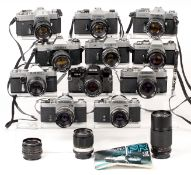 Group of 11 SLRs inc Yashica Models with f1.4 Lenses.