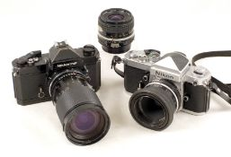 Nikon F2 & Nikkormat FT3 Cameras, with Lenses.