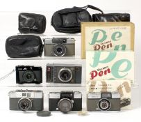 Group of Half Frame Cameras by Olympus & Others.