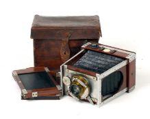 A Shew Aluminium Xit 1/4 Plate Camera.