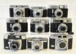 Group of Nine 35mm Cameras, Mostly Voigtlander.