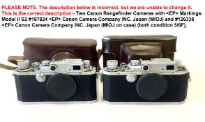 Two Canon Rangefinder Cameras, EP Markings.