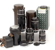 Group of Canon Super Canomatic R Lenses.