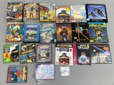 18 boxed Commodore Amiga games console games together with two books and one loose disk. (21) [NO